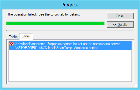 Properties cannot be set on the namespace server - Access is denied