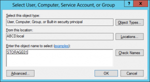 Select User, Computer, Service Account, or Group Dialog